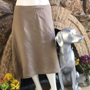 Eileen Fisher Beige 100% Irish Linen Lined Skirt Women's Size Large